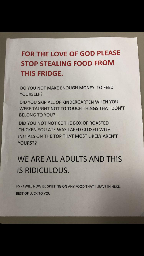 My mom is absolutely done with people stealing food in her