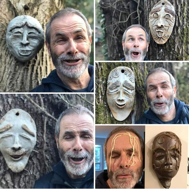 My mom makes pottery masks as a hobby My dad is going quaran-crazy This is the result