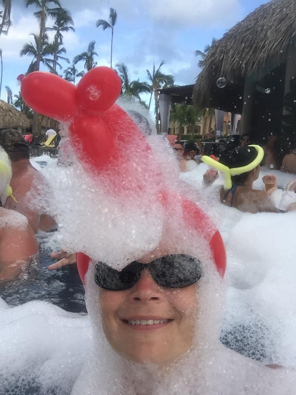 My mom went to a foam party in the Dominican Republic This is the picture i received