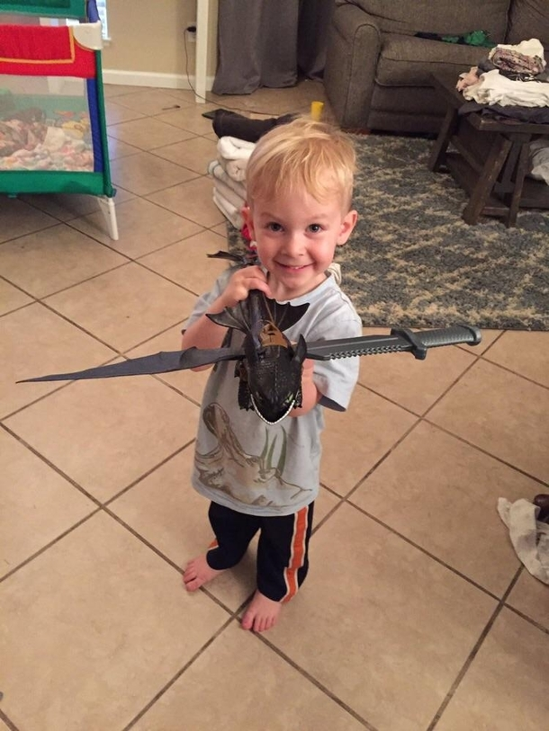 My Son Is Pretty Proud Of How He Fixed His Favorite Dragon Toy