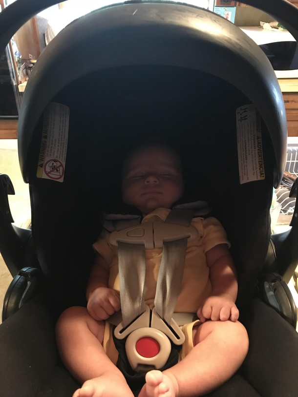 My Son Looks Like Lord Helmet In His Car Seat