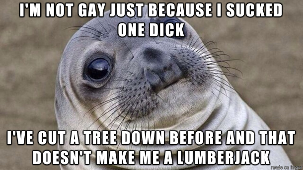 My straight friend said this after getting drunk and hooking up with another dude