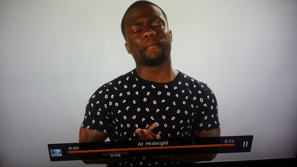 My wife asked me why Kevin Hart is wearing a shirt that has pedo written all over it