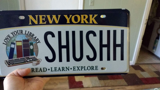 My wife the librarian received her new vanity plates yesterday