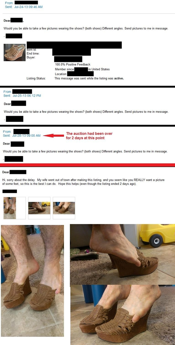 My Wife Tried Selling Her Shoes On Ebay Someone Keeps Asking For Pics Of Her Feet In Them I Replied Meme Guy
