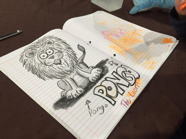 My young daughter asked me to draw a Lion named Pongo next to her Elephant She was not happy - i should have copied her style LPT Dont show off against your kids