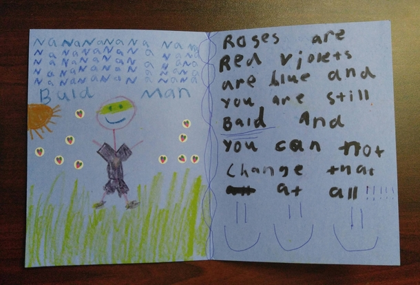 My young niece and I send each other funny cards in the mail sometimes Her latest one really cut me deep