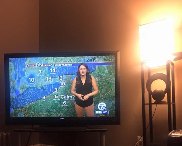 Never wear skin-toned pants to a weather forecast