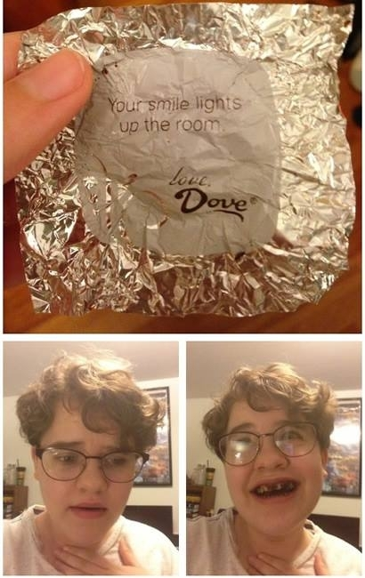Nice positive message from Dove chocolate