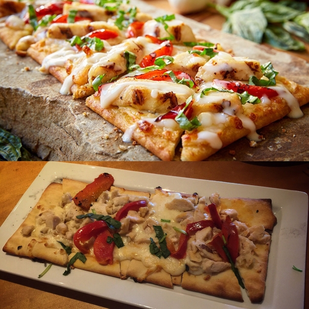 Olive garden chicken flatbread I was being generous and atleast tried to make this look good This tyson chicken tastes like tyson chicken