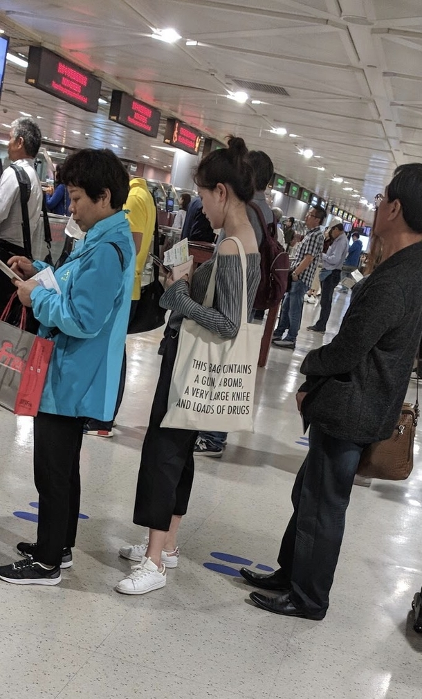 On a recent trip to Taipei a friend captured this in the security line