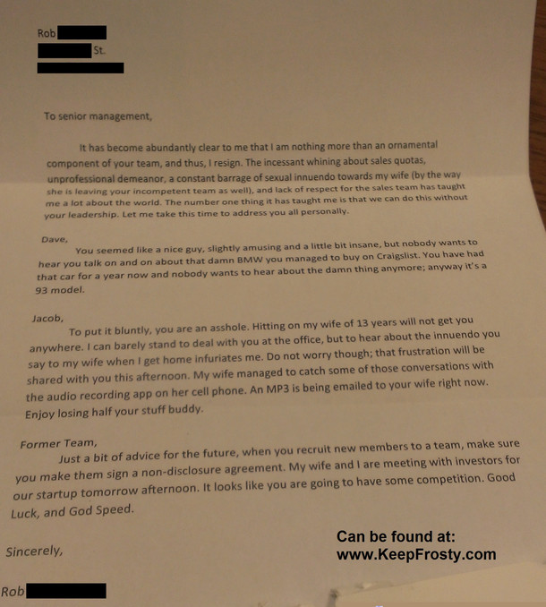 One Of The Dirtiest And Funniest Resignation Letters I Have Ever Seen  Funny Resignation Letters