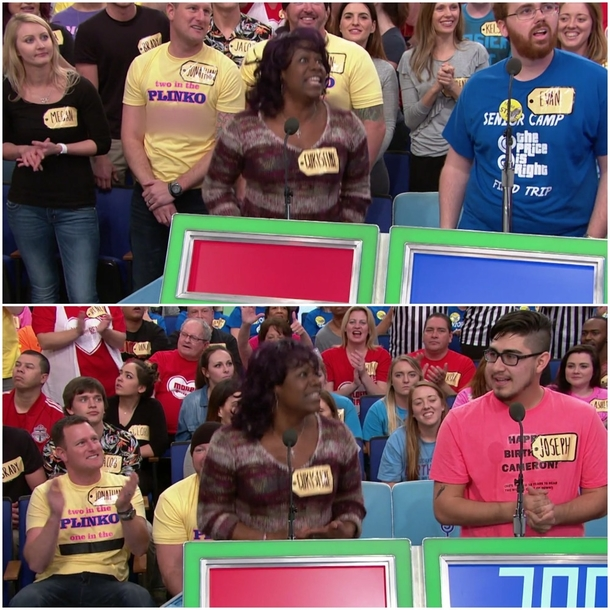 Pic #1 - Guy wears Two in the Plinko One in the stinko shirt on The Price is Right forced to duct tape over it after being caught at the commercial break