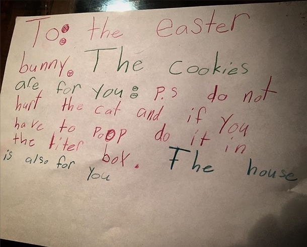 pic 1 my friends kids wrote a note to the easter bunny meme guy
