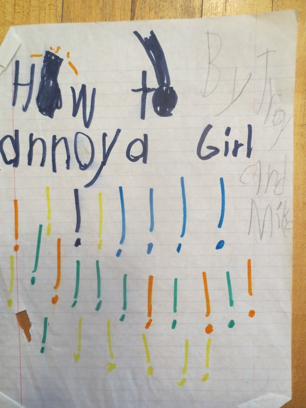 Pic #2 - How To Annoy A Girl- A short story my brother and I wrote when we were kids