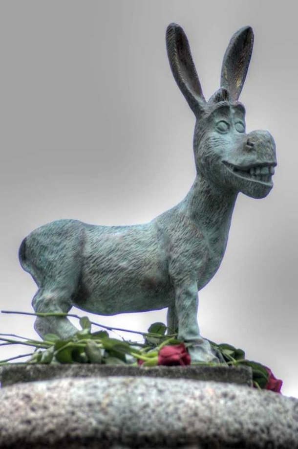 Pic #2 - The donkey statue on my hometowns fountain was prone to get stolen so it got temporarily removed A few nights later someone secretly replaced it with this