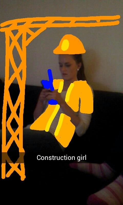 Pic #3 - I use snapchat mostly just to secretly take pics of my girlfriend doing things and then I draw her into all kinds of settings and send to our friends These are some of the snaps so far
