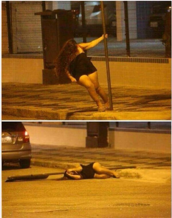 Pole dancing at the street