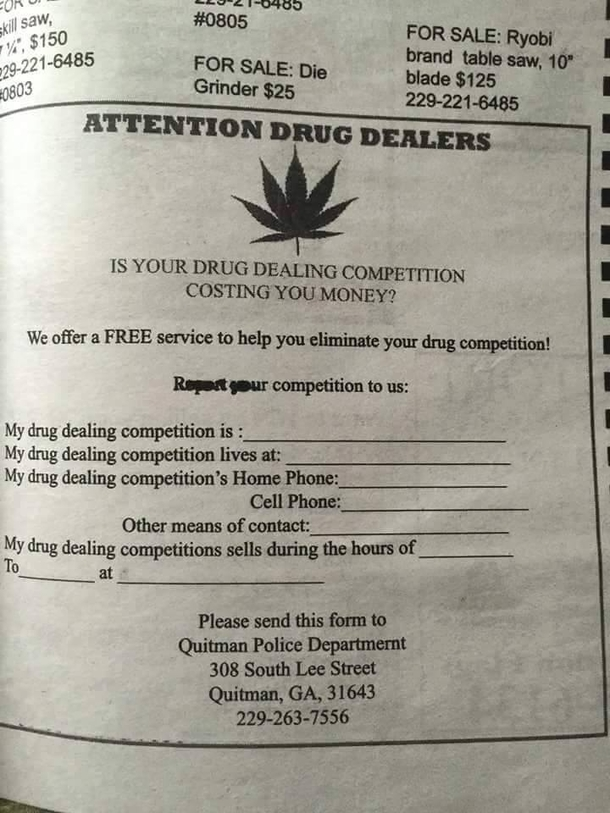 Police Department Newspaper ad on