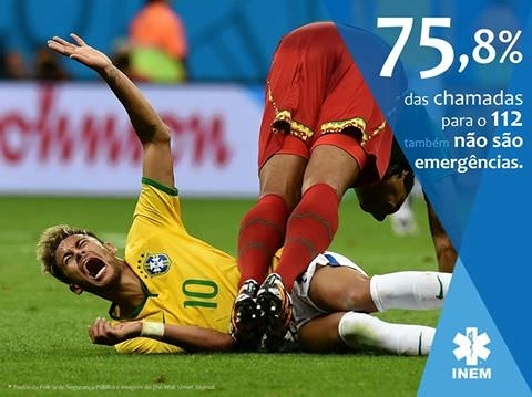 Portugals INEM National Medical Emergency Institute used a picture of Neymar to bring attention to people who needlessly call them The text reads  of the calls  are also not emergencies