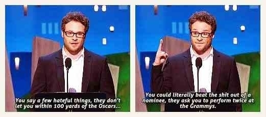 Seth Rogan calling out the Grammys
