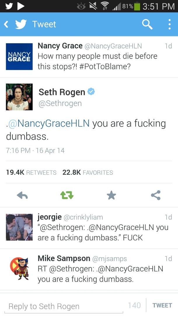 Seth Rogens Response To Nancy Grace On Twitter Screenshot