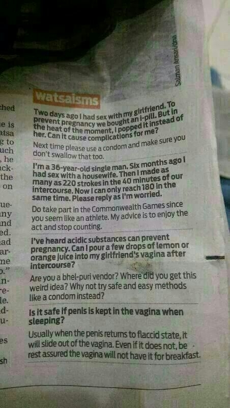 Sex ed questions in an Indian newspaper