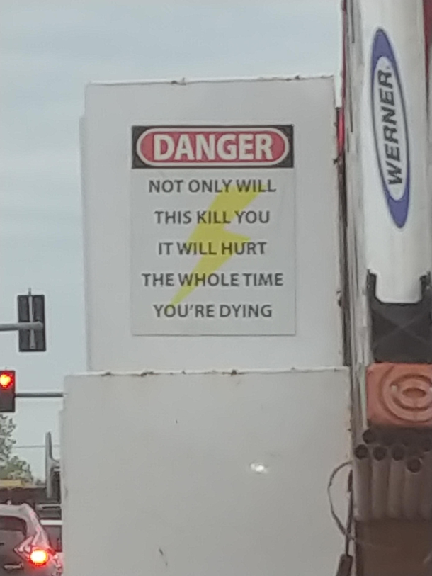 Sign on an electricians truck in my city