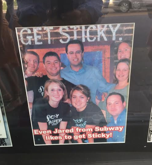 So a local restaurant is named Sticky Fingers and this one time a celebrity came to visit