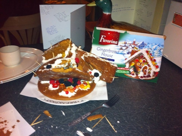 So my friends dad tried to make a gingerbread house , Meme Guy