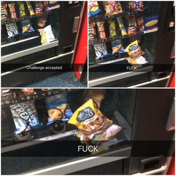 So this happened to my friend when he tried to improvise at the vending machine