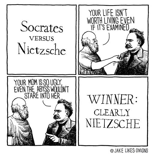 socrates vs nietzsche 275577 socrates vs nietzsche meme guy