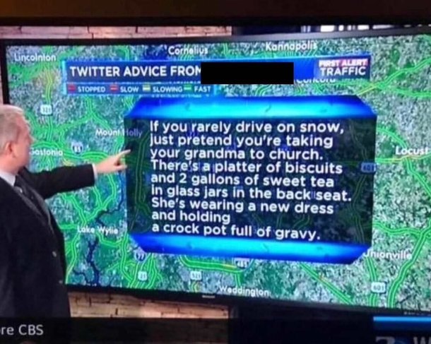 Solid advice for southerners driving on snow