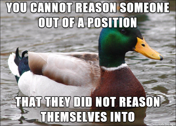 Some excellent advice I found for when you meet someone with irrational beliefs