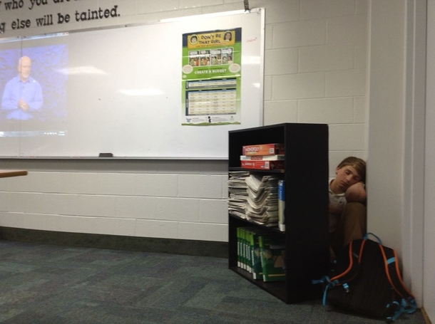 Some kid hid behind a bookshelf and fell asleep during the video in my personal finance class