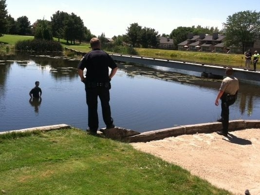 Suspect in my hometown jumped into the middle of a pond to avoid arrest standoff ensued
