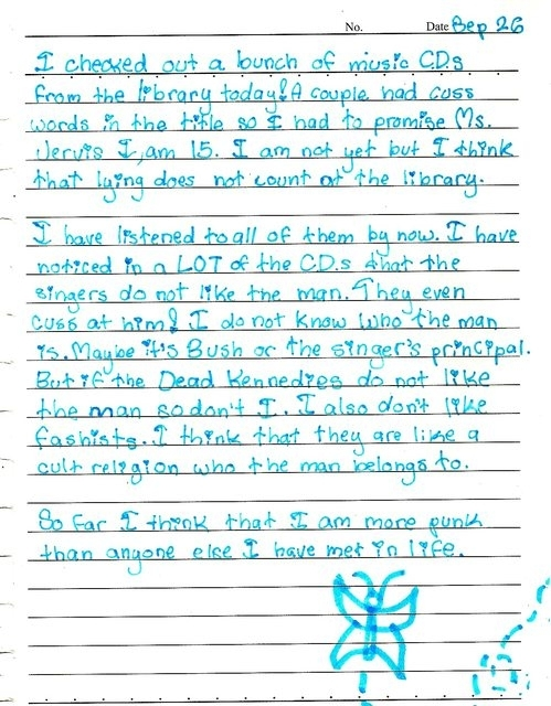 th grader finds Dead Kennedys CD at school library Writes diary entry about it story in comments