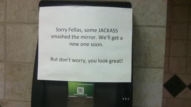 Bathroom Sign Meme thanks for the reassurance bathroom sign - meme guy