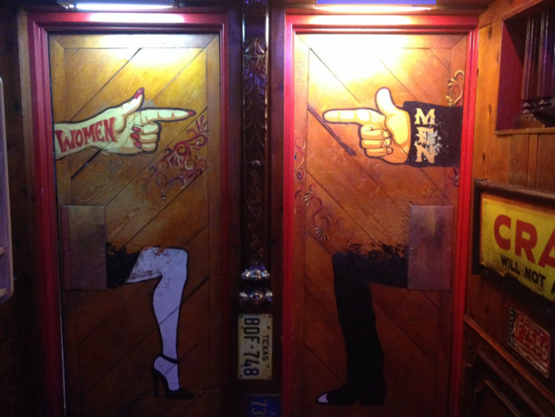 The bathroom doors at my local watering hole are tricky