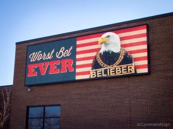 The Loser Keeps Justin Bieber sign about the bet between USA and Canada mens hockey has been updated