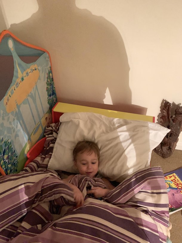 The photo meant to ensure my wife I had put our son to bed ...