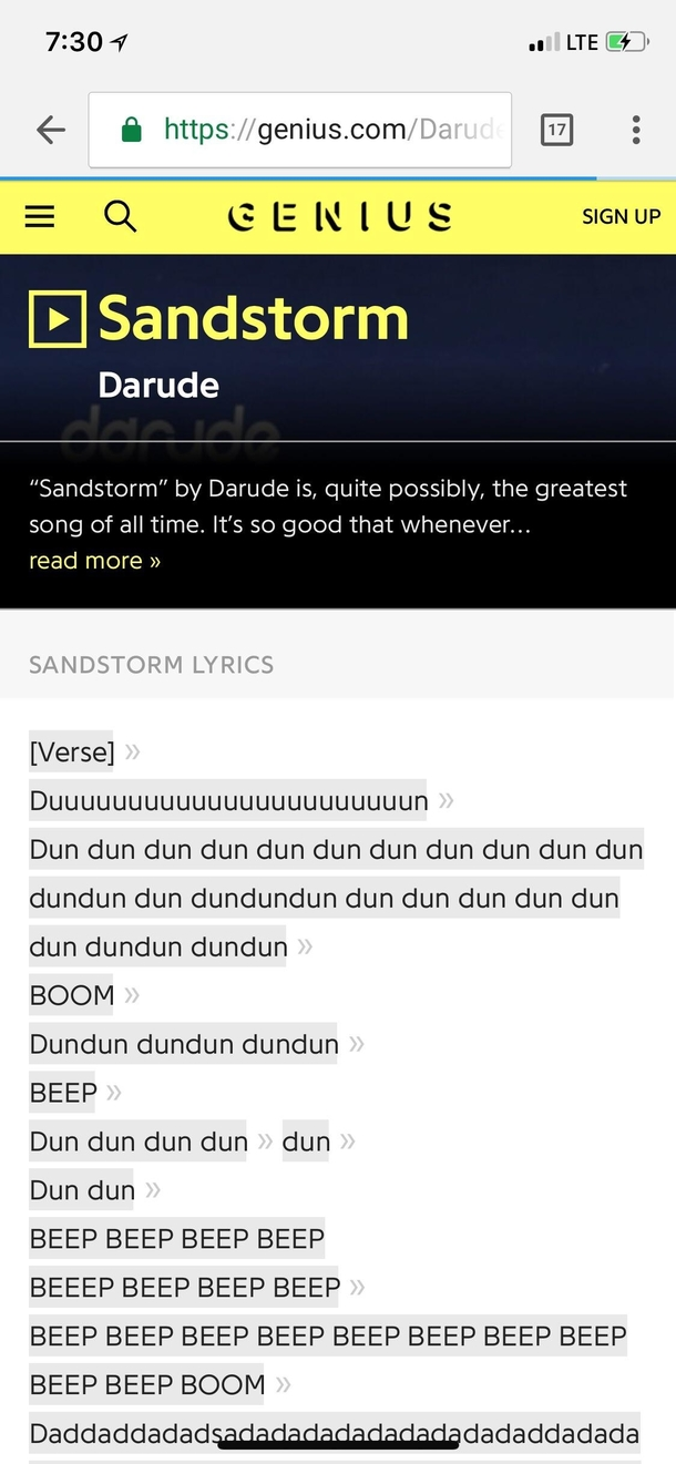 There are lyrics to Sandstorm by Darude