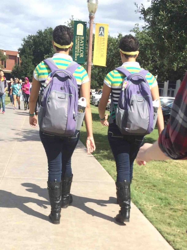 There are these twins on my college campus that dress the exact same way everyday take the exact same classes as each other and dont do anything without the other I finally got a good picture of them today