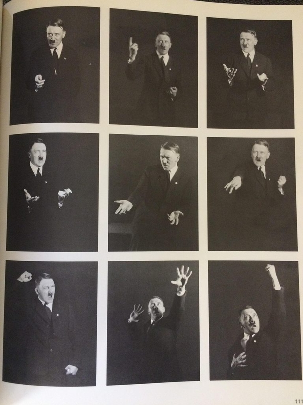 These Hitler photos in my history book look like promotional shots for a shitty magician