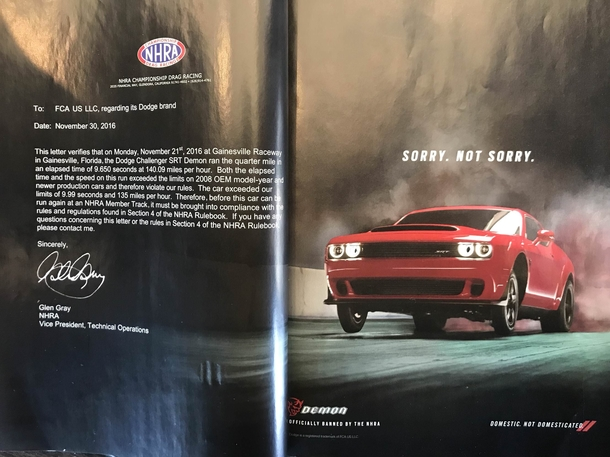 This ad for the New Dodge Demon is simply the letter from the NHRA National Hot Rod Association telling them its too fast to be allowed