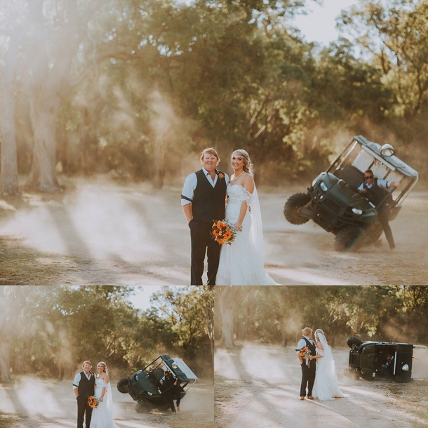 This couple wanted dust in the air for their wedding photos the best man made it happenand then some