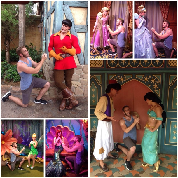 This guy proposed to various characters at Disney World