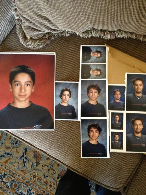 This guy wore the same shirt in every school photo from Grade  to Grade