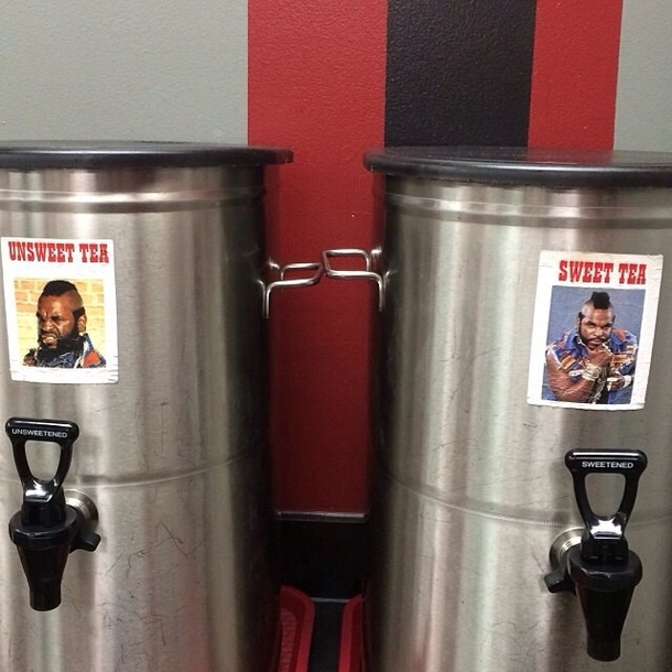This is how a local burger bar labels their iced tea tanks