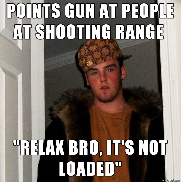 This shooting range scumbag thinks hes just being funny ...